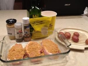 BEFORE: Boneless pork chops and mini potatoes