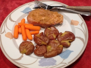 AFTER: Seasoned chops and Smashed potatoes