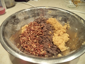 Toasted pecans and chocolate ready to stir into finished batter