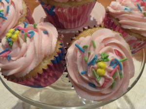 Lemonade Cupcakes with a pretty in pink swirl.