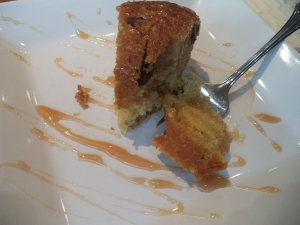 Coffee cake with caramel sauce.