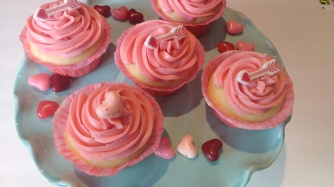 Cupcakes Iced with Raspberry Buttercream
